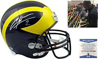 Charles Woodson Signed Michigan Full Size Replica Helmet - Beckett - Autographed w/ Photo