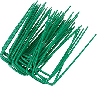 """Karcy Landscaping Staples Landscape Staple Stakes 5.91"""" Length Ground Cover Weed Barrier Pins Green Pack of 30"""