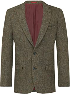 Mens Green with Brown Overcheck Tweed Jacket Regular Fit 100% Wool Notch Lapel