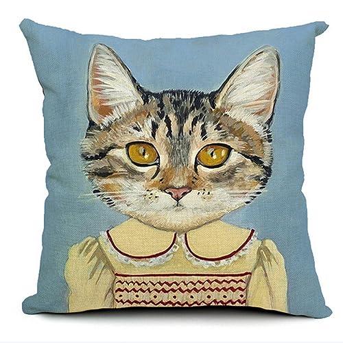 Dark Green European Style 18 X 18 Inch Cotton Blend Linen Cute Cats Dogs Throw Pillow Cover Cushion Case for Home Bedding Car Sofa Decoration