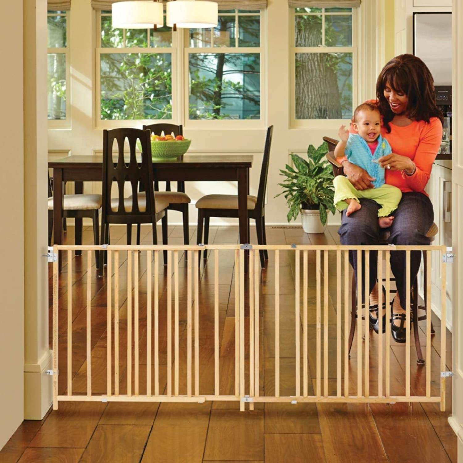 North States 103  Wide ExtraWide Swing Baby Gate  Perfect for Oversized Spaces. No Threshold and oneHand Operation. Hardware Mount. Fits 60 103  Wide (27  Tall, Sustainable Hardwood)