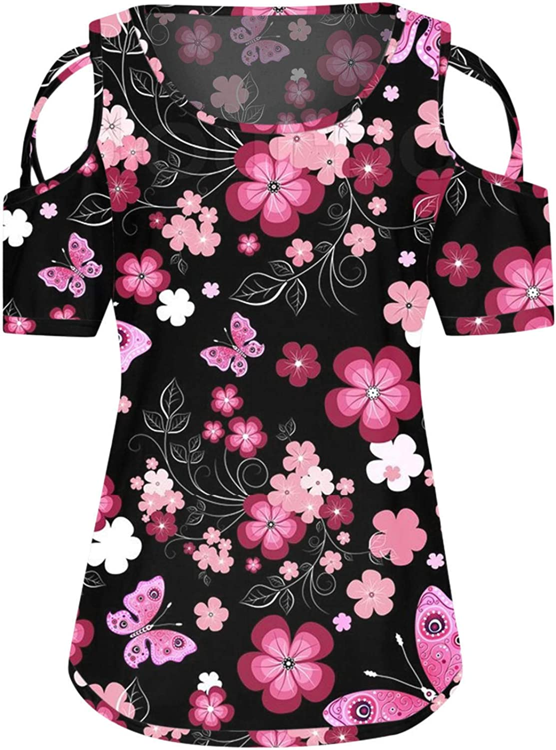 Women's Cold Shoulder Tops Plus Size Summer Tunic Blouses Floral Short Sleeve Cut Out Shirts Casual Comfy Tees