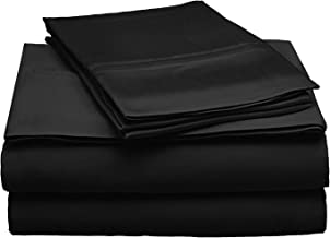 Superior 300 Thread Count Queen Sheet Set, 100% Modal from Beech, Solid, Black