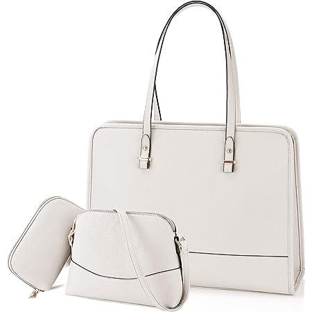 NEWHEY Handtasche Set Damen Shopper Groß Tasche Leder Handtasche Elegant Umhängetasche Schultertasche Geldbörse 3-teiliges Set für Büro Schule Einkauf Reise Beige