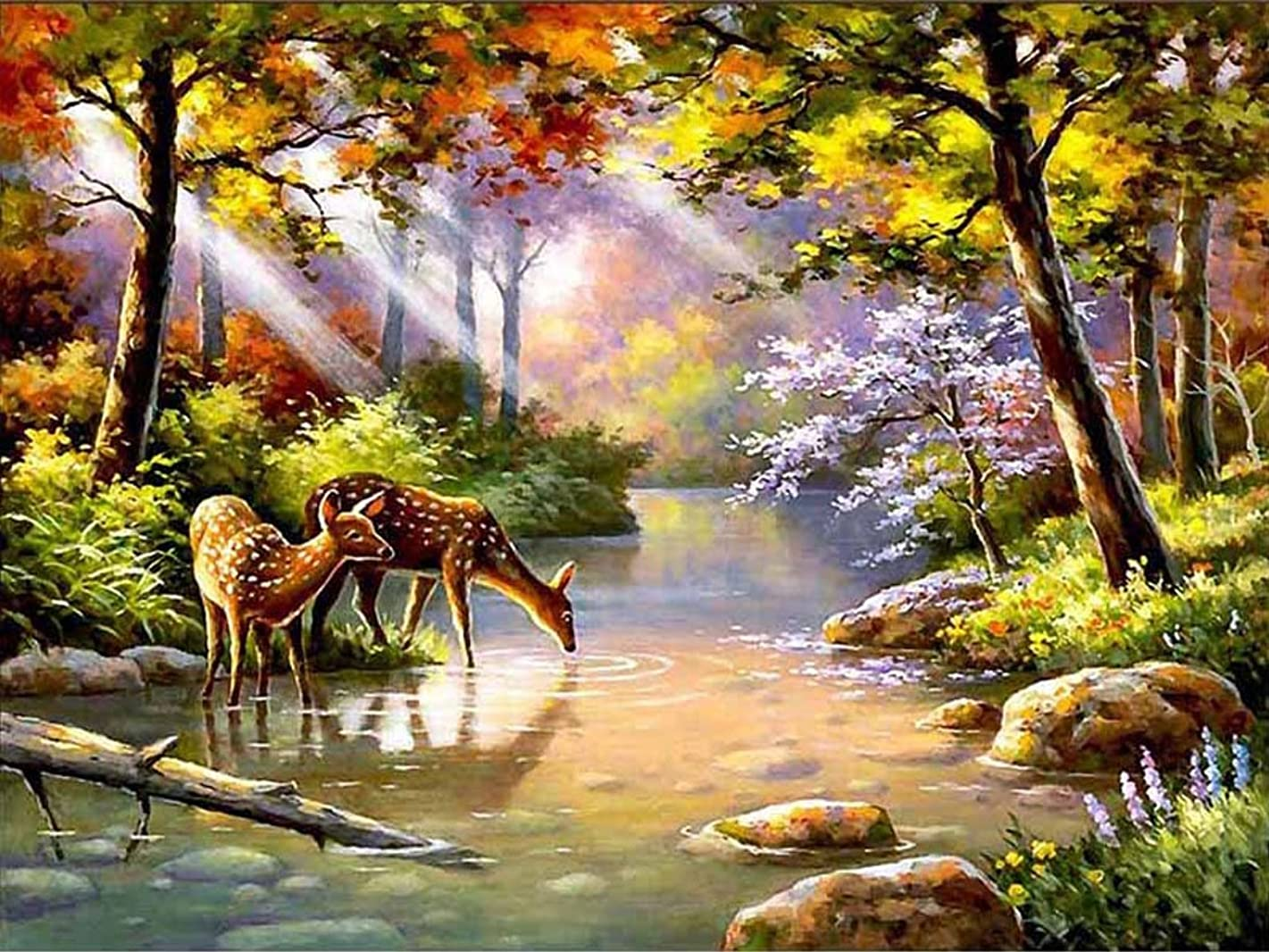 21secret 5D Diamond Diy Painting Full Drill Handmade Deer Drink Water in Forest Scenery Cross Stitch Home Decor Embroidery Kit