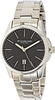 Stuhrling Original Men's Quartz Date Watch, Silver Case, Black Dial, Stainless Steel Bracelet - 3970.1