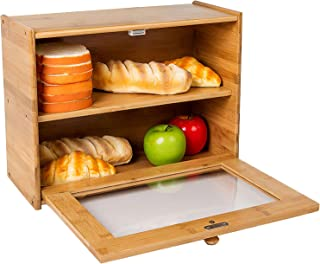 Clever Modern Collection Flat White Bread Box High Capacity With Bamboo Lid Kitchen Storage Bread Bin Bread Storage