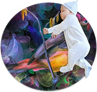 Färg fågel, barn rund matta polyester kasta område matta mjuk pedagogisk tvättbar matta barnkammare tipi tält lekmatta