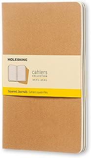 Moleskine S04991 Cahier Notebook- Set of 3- Grid- Large- Kraft, (QP417), Kraft Brown