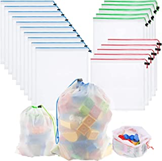 Toy Storage & Organization Mesh Bags Set of 20(10 Large 5 Medium 5 Small),Washable Reusable Mesh,Baby Toys, Game Pieces, T...