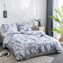 Argstar 3 Pcs King Duvet Cover Set, Marble Printed Bedding Sets, Blue and White Abstract Comforter Cover with Zipper Ties, Soft Lightweight Microfiber, 1 Duvet Cover and 2 Pillow Shams