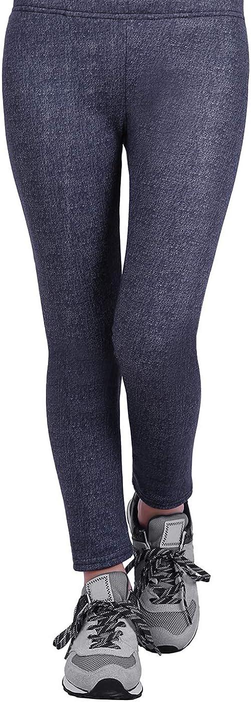 HDE Girls Fleece Winter Knit Leggings Kids Nordic Stretch Pants Footless Tights