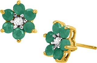 1 ct Natural Emerald Flower Stud Earrings with Diamonds in 18K Gold-Plated Sterling Silver