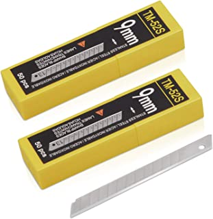 9mm Utility Knife Replacement Blades, Snap Off Stainless Steel Blades for Retractable Cutting Knives, Hobby, Craft Knife, ...