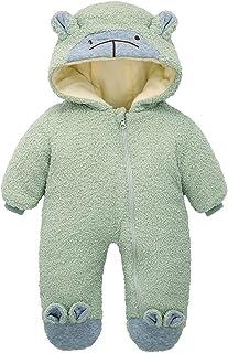 طفل الفتيان الفتيات الشتاء السروال القصير الرضع سميكة الدافئة الزحف الملابس داخلية حلزات الملابس (Color : Army Green, Size...
