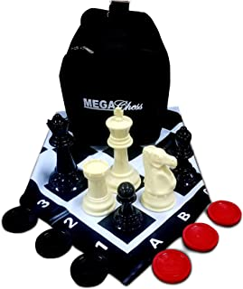 MegaChess Large Chess Set 8-inch King with Large Checkers Set and Giant Vinyl Chess Mat