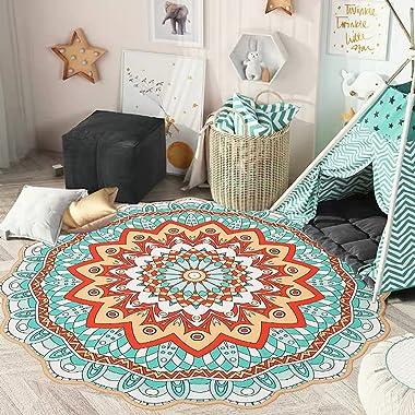 GEVES Teal Aqua Floral Mandala Rug Round Area Rugs for Bathroom Living Room Bedroom Floral Carpet Mat Boho Decor Accent Throw