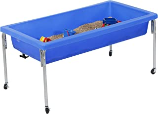 "Children's Factory Extra Large Activity Table and Lid Set, 50"" by 26"" by 24"", Blue – Fill with Water, Sand, Beads and More – Lid for Safe, Clean Storage – Made of Durable Plastic – Indoor/Outdoor Use"