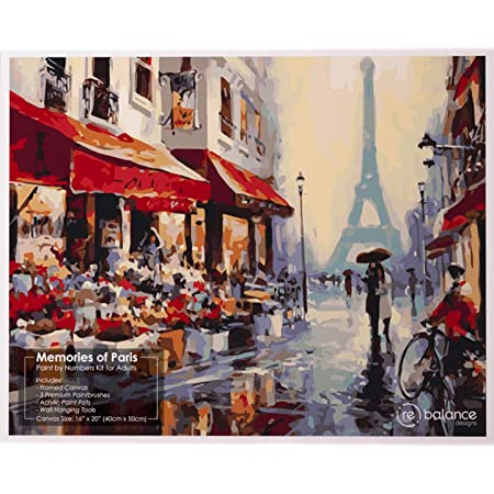 "Paint by Numbers for Adults Framed - Memories of Paris Beginner DIY Paint by Number Kit - Includes Large Canvas with Frame, 3 Brushes, Wall Hanger and Acrylic Paint - Easy Number Painting (16"" x 20"")"