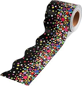 64 Feet Confetti Bulletin Board Borders for Classroom Decoration Scalloped