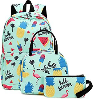 School Backpacks Set for Teen Girls Backpack Cute Pineapple Bookbags with Lunch Bag Casual Daypack (Flamingo and Pineapple -Turquoise)