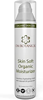 Skin Soft ORGANIC MOISTURIZER with Natural Sunscreen | Lavender Facial Lotion in 4 oz Airless Pump. Best Daily Face Moisturizing Cream for Men, Women, Gluten Free, Vegan, Skin Care by OM BOTANICAL