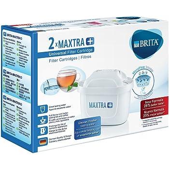 BRITA MAXTRA+ – Pack2filtros para el agua, Cartuchos filtrantes compatibles con jarras BRITA que reducen la cal y el cloro
