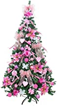 WSJTT Seasonal Décor Christmas Trees Artificial Spruce Hinged Artificial Xmas Tree with Pink Christmas Decoration Natural ...