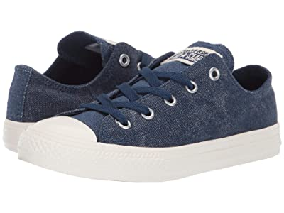 Converse Kids Chuck Taylor All Star Washed Out Ox (Little Kid) (Navy/Egret/Egret) Boys Shoes