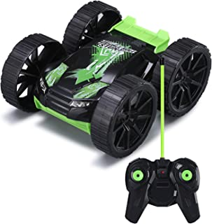 Remote Control Car,RC Stunt Vehicle 360°Rotating Rolling Double-Sided 4WD Radio Control Electric Race Car Boys Toys Kids Gifts Green MKB(Battery Included)
