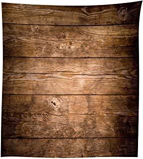 QCWN Wood Grain Tablecloth,Brown Wooden Retro Boho Style Tablecloth,Dining Room Kitchen Rectangular Table Cover.Brown55x70Inch
