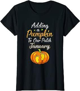 Womens Halloween Pumpkin Pregnancy Mom Due Date In January 2019 T-Shirt
