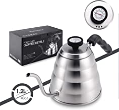 Stainless Steel Tea Coffee Kettle, with Thermometer for Exact Temperature, Gooseneck Thin Spout for Pour Over Coffee, Work...