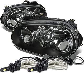 For VW Golf MK4 / Cabrio Pair of Black Housing Clear Corner Headlight + H7 LED Conversion Kit