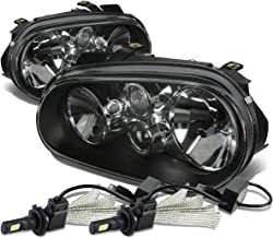For VW Golf MK4 / Cabrio Pair of Black Housing Clear Corner Headlight + H7 LED Conversion Kit