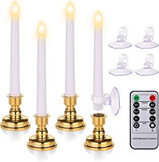 7.9 Inch Warm White Flameless Flickering Taper Candles, Battery Operated LED Candles with Timer Remote, Removable Candlest...