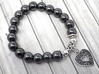 Bracciale da donna in perle di ematite nera con pendente in argento placcato in filigrana a forma di cuore