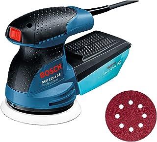 Bosch Professional excenterslip GEX 125-1 AE (125mm sliprondell, 250W, med Microfilter Box, 3x slippapper C470 för trä)