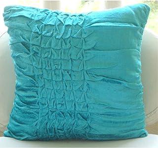 Bleu Turquoise Couverture D'Oreillers, Noué Texturé Couleur Unie 40x40 cm Jeter Les Taies D'Oreiller, Velours Couverture ...