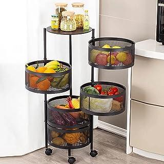 EUNEWR 3/4/5 Niveaux Support à Légumes Rotatif de Cuisine,panier a legumes sur roulettes rond,support de rangement de cuis...