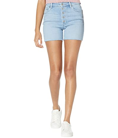Paige Sarah Longline Shorts w/ Exposed Buttonfly in Parkway Distressed