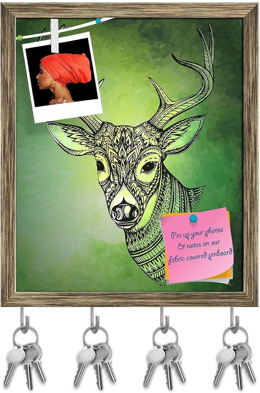 Artzfolio Horned Deer Key Holder Hooks   Notice Pin Board   Antique golden Frame 16 X 19.1Inch