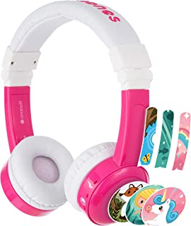Buddyphones Inflight 3-Step Volume Limiting Kids Headphones | Durable, Comfortable & Customizable | Built in Headphone Splitter and in Line Mic | Perfect for Airplane Use | Pink