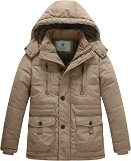 WenVen Boy's Winter Warm Padded Puffer Coat Thicken Hooded Parka Jacket