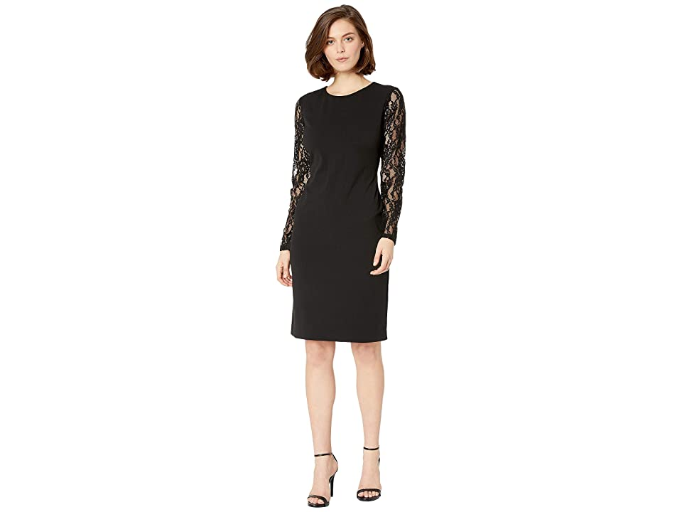 LAUREN Ralph Lauren 130H Luxe Tech Crepe Keanu Long Sleeve Day Dress (Black) Women