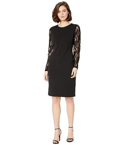LAUREN Ralph Lauren 130H Luxe Tech Crepe Keanu Long Sleeve Day Dress (Black) Women
