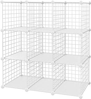 SONGMICS Armario Modular de Malla de Hierro Armario de Almacenaje con 9 Cubos Estantería Modulable Ajustable Organizador M...
