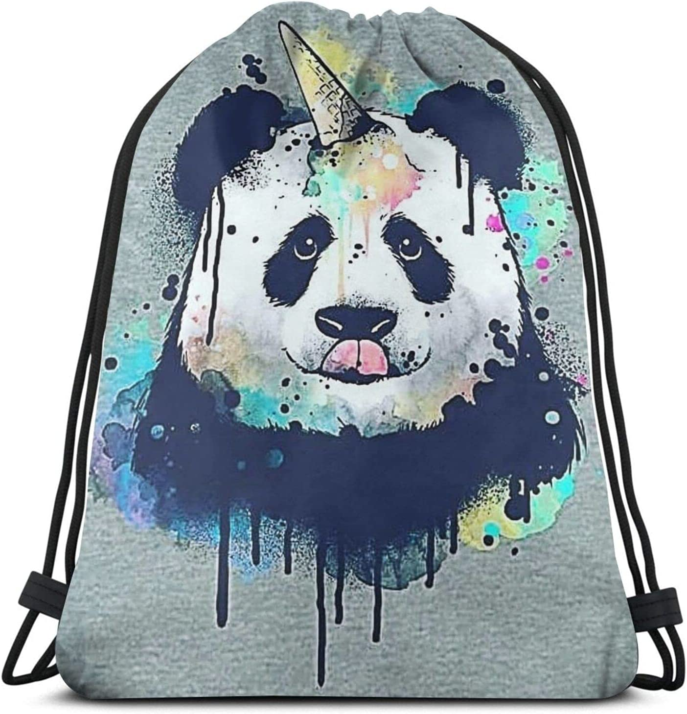 Ice Our shop OFFers the best service Cream SEAL limited product Pandacorn Watercolor Drawstring fashion Backpack Panda
