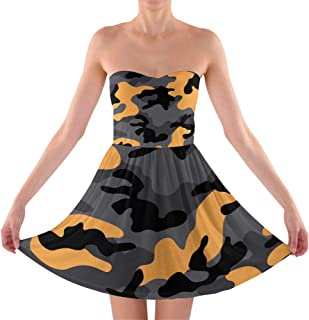 Rainbow Rules Dark Camouflage Sweetheart Skater Dress Strapless