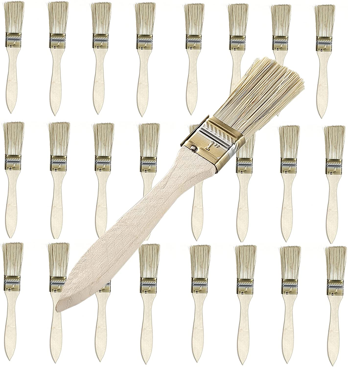 """Chip Paint Brushes half 1"""" 24 Pack Flat Translated Reusable Bristle"""